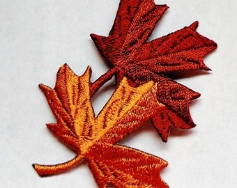 embroidered iron on applique-2 leaves