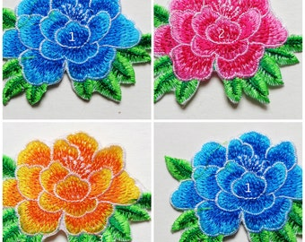 3 colors Embroidered Flower Applique Iron On Patches select color