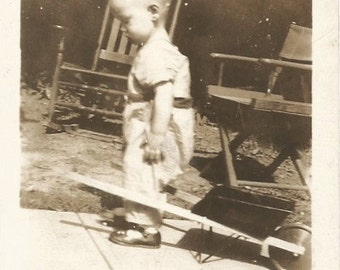 Vintage Snapshot - Toy Wheelbarrow - Little Boy - Gardening - Found Original Photo - Sepia