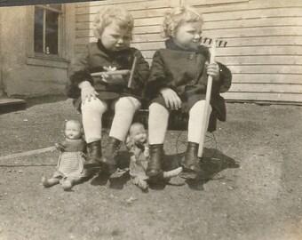 Vintage Photo - Twins - Sisters - Vintage Dolls - Old Snapshot - Twin Girls - Collectibles - Paper Ephemera