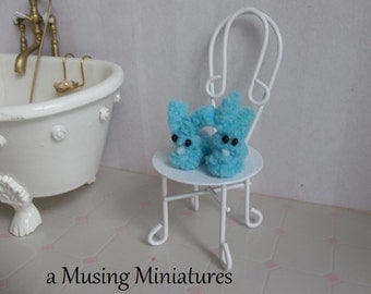 Fluffy Blue Bunny Slippers in 1:12 Scale for Dollhouse Miniature Bedroom or Nursury