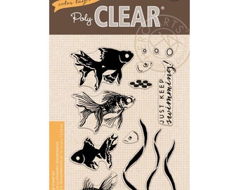 SALE Hero Arts Stamps: Color Layering Goldfish CL945 Clear stamps matches die DI176, Fish Stamps, aquarium, pond, a2z scrapbooking