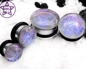 """Interference Faux Dichroic Plug Gauge Purple Blue Clear Faux Dichro Wedding Prom Colour Shifting 0g, 00g, 7/16"""" / 8mm, 10mm, 11mm"""