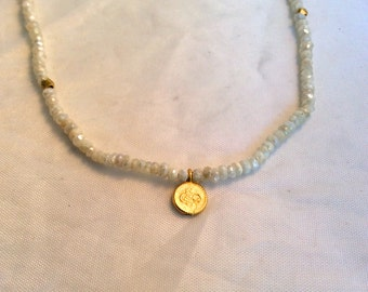 tiny white sapphire with platinum over wash bead necklace with  vermeil disc and beads