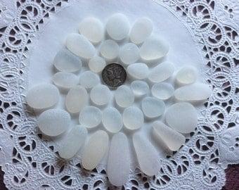 30 WHITE genuine Beach  Sea Glass pendants DW-C-32