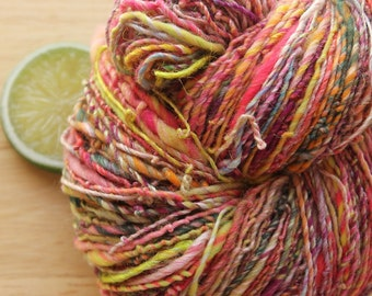 Sari Summer - Handspun Wool Free Yarn Pink Yellow Sparkle Sport Weight