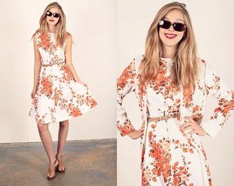 Vintage 60s Foliage Dress White Orange Autumn Dress Set