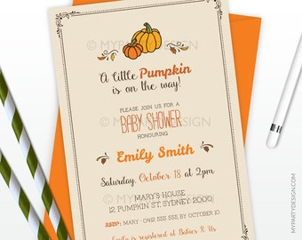 Baby Shower Invitation - Little Pumpkin theme - Fall Party - Gender Neutral - PRINTABLE JPEG or PDF file
