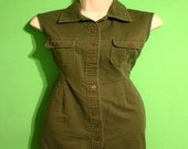 Vintage 90s Womens Military Green Sleeveless Mini Dress Size 6 Rocker Biker Punk Rock Skater