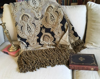 Tapestry Throw Blanket, Black Gold Medallions, Elegant Designer Throws, European Old World, Ancient Mosaic, Chenille Quilt