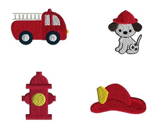 Mini Fireman Set Machine Embroidery Design Set-INSTANT DOWNLOAD