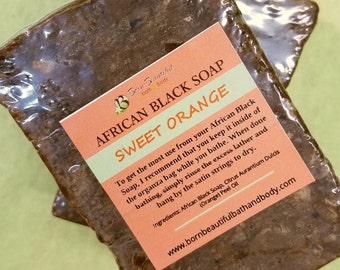 African Black Soap - Raw Black Soap, Sweet Orange,  Natural Soap,