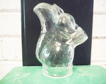 Glass squirrel shaped bottle unusual candy jar vintage animal