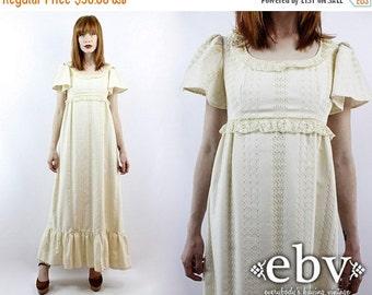 Vintage 70s Cream Lace Maxi Dress XS S Vintage Hippie Dress Hippy Dress Hippie Wedding Dress Hippy Wedding Dress Boho Wedding Dress