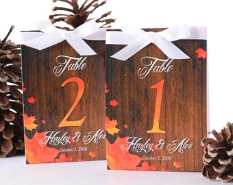 Autumn Wedding Table Number Tent Cards - Fall Wedding Table Markers - Rustic Wedding Decor - Autumn Wedding Table Tents