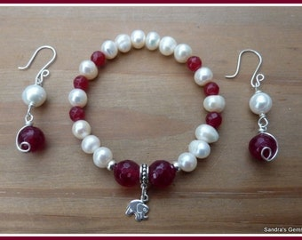 Freshwater Pearl and Ruby Bracelet in Sterling Silver with Elephant Charm