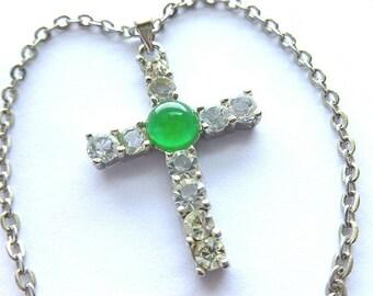 Vintage Jade & Clear Crystals Cross, 18K White Goldplated Jade Cross, Jade and Rhinestone Cross with Neck Chain, Jade Cross, 18KGP Cross