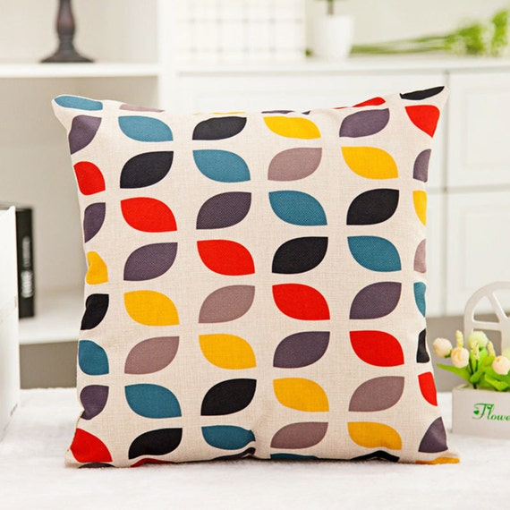 Round Throw Pillow Covers : Colorful Round Flower Throw Pillow Cover Sofa Bed Home