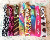 Printed Elastic Hair Ties Set of 3 {Your Choice of Prints}~ Handmade by Little Cupcake Boutique