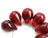 Dark Red Teardrop beads, Large briolettes, Transparent Red czech glass drops - 10x14mm - 6Pc - 2562