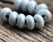 Large hole beads, Marbled blue grey, czech glass, big hole, rondelle - 12x6mm - 10Pc - 2475