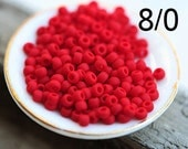 Red Seed beads, TOHO, size 8/0, Opaque Frosted Pepper Red, N 45F, rocailles - 10g - S912