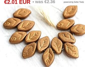 ON SALE Golden glass leaves, czech leaf beads, Bronze Gold, metallic, matte - 12x7mm - 25Pc - 0646