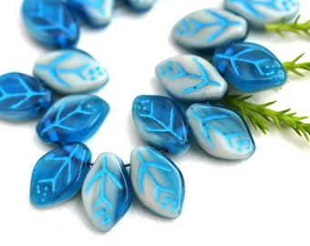 12x7mm Leaf beads, Dark Blue White Mixed color, Blue Inlays, Czech glass pressed leaves - 25Pc - 0786
