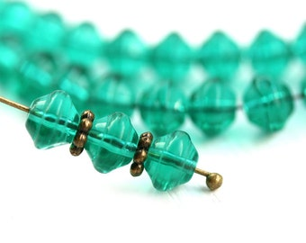 6mm Teal Green spacer beads, czech glass round beads, saucer, UFO shape - 40Pc - 1711