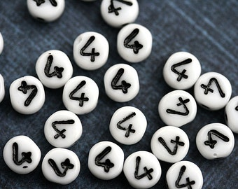 Glass Number beads, white czech glass beads with black inlays, number 4 bead, symbol, 6mm - 25pc - 2466