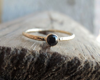 Rustic Gold Solitaire - Minimal Solid Gold Ring Conflict-Free Black Diamond or Spinel 3mm or 4mm Sustainable White Rose or Yellow 10k or 14k