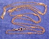 Antique Necklace Gold Plated Necklace Extra Long Necklace Hook For Small Keys Or Watch Victorian French Jewelry Elegant And Dressy Necklace