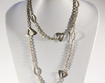 French Vintage Extra Long Silver Plate Necklace 70s Art Nouveau Revival