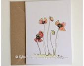 Fine Art Greeting Card, Poppies, Botanical, Flanders, Red Flower, Kylie Fogarty, Blank Greeting Card