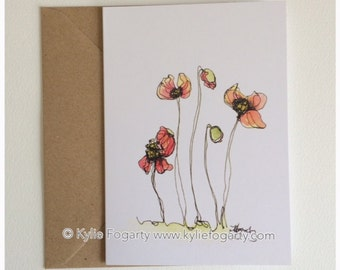 Fine Art Greeting Card, Poppies, Botanical, Flanders, Red Flower, Kylie Fogarty, Blank Greeting Card