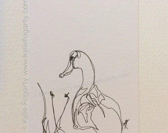 Black and White Bird Art - Line Duck - Drawing - SFA - ACEO - Fine Art Miniature- Duck -  Gift