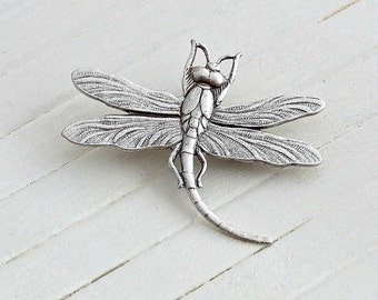 Dragonfly Brooch  .. silver dragonfly brooch, shawl pin, art nouveau brooch