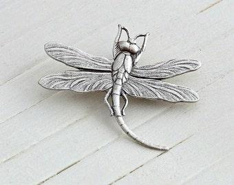 Dragonfly Brooch  .. silver dragonfly brooch, shawl pin, art nouveau brooch