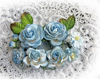 Reneabouquets Flower Set -  Mulberry Paper Flowers Roses And Leaves Set -Blue and White Set Of 13 Pieces In Organza Storage Bag