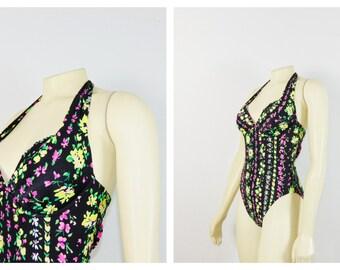 Vintage Swimsuit 90s Victoria's Secret Black neon Floral Halter Top One Piece Bathing Suit XS - S