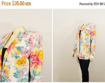 CLOTHING SALE Vintage Blazer 80s Oversized Focus Cotton Watercolor Floral Miami Vice No Buttons Size 4 Modern Small to Medium