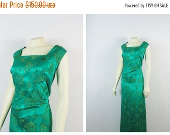 CLOTHING SALE Vintage Dress 60s Norman Young London Green & Gold Satin Brocade Dress |Full Length Evening Gown | Mad Men Formal Gown| Satin