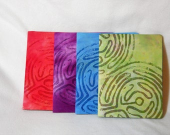 Spiritual Journal, Hand Dyed Labyrinth Design, Removable Cover
