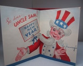 Vintage 1940's-50's patriotic themed christmas and new years card with santa and uncle sam graphics