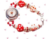Sweetheart Valentine Red Heart Lampwork and Crystal Bracelet Watch