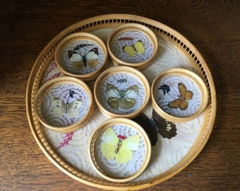 Vintage Butterfly Serving Tray & 6 Butterfly Coasters