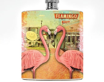 Ladies Hip Flask Kitschy Drinking Gifts Womens Las Vegas Party Gift College Girl Hip Flask Wedding Personalized Flamingo Vacation Beach Pool