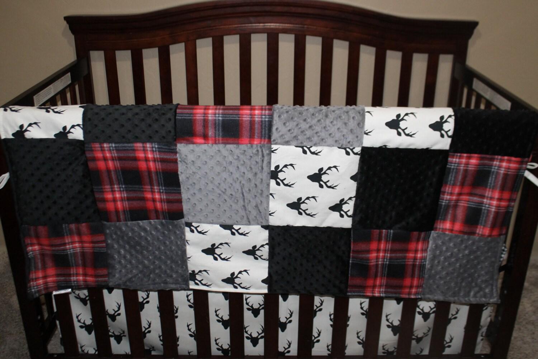 Baby Crib Bedding Black Buck Deer Lodge Red Black Plaid