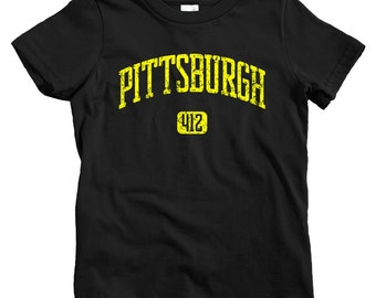 Kids Pittsburgh 412 T-shirt - Baby, Toddler, and Youth Sizes - Pitt Tee, Steel City, Pennsylvania - 4 Colors