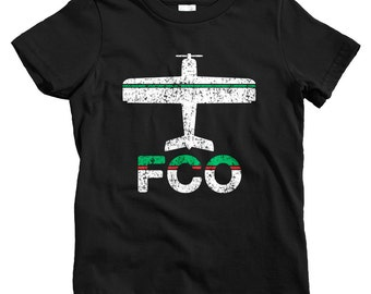 Kids Fly Rome T-shirt - FCO Airport - Baby, Toddler, and Youth Sizes - Rome Italy Tee, Fiumicino, Roma Italia, Travel, Gift - 2 Colors